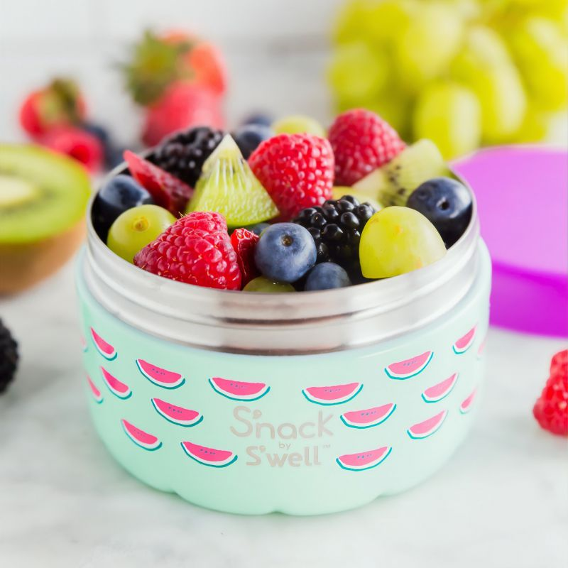 Photo of assorted fresh fruit in stainless steel food container