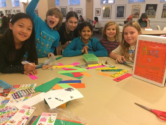 Making bookmarks for foster children