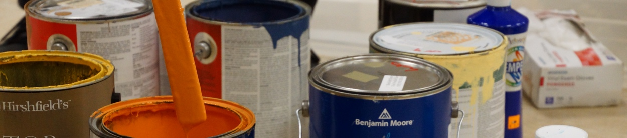 open paint cans for Stagecraft during the Spring 2019 semester